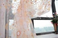 Rustic curtain yarn customize romantic orange flower screening sheer for bedroom free shipping