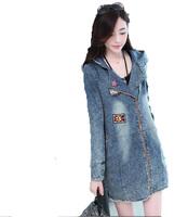 Free Shipping ! 2014 Women Slim Long-sleeved Fashion Cotton Jcket ,Female Hooded Korean Casual Plus size Outwear M L XL