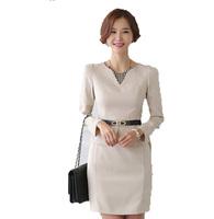 Free Shipping ! 2014 Women Fashion V -neck Long-sleeved Slim Dress ,Female Slim OL Former Elegant Dresses S M L XL XXL