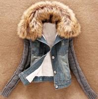 New Winter Denim Jacket With Fur Collar Wool Sleeve Splice female Short Jacket Cowboy Thickening jackets for women