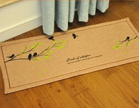 Jute PVC latex backing carpet mug footcloth black tree design using Living room balcony  kitchen non-slip MATS 40*100cm