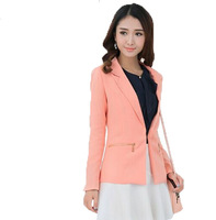 Free Shipping ! Women Large size 2014 Latest Elegant Fashion Suit Jacket,Female OL Candy color Slim Former BlazerXL XXL XXXL 4XL