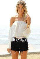 Free shipping women blouses 2014 new fashion full sleeve chiffon lace tassels blouses
