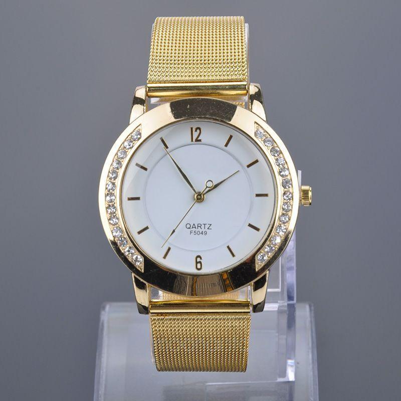 Quartz Crystal Watch Women Dress Quartz Watch Luxury Crystal Inlaid Gold Mesh Band Watches Women