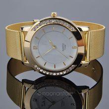 Women Dress Quartz Watch Luxury Crystal Inlaid Gold Mesh Band Watch Women Wristwatches 2015 New Clock