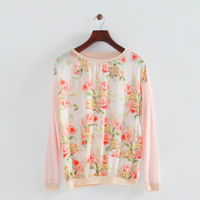 2014 autumn girl eversoft cute little floral chiffon combined front pullovers o-neck long sleeves regular thin knitwear 253520