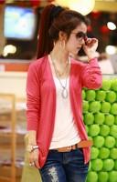 Free Shipping 2014 new fashion Long-sleeved women cardigan Knitwear six color [ 70-7402]