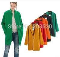 New women's coats 2014 women coat of thin blue winter wool coat long brand Desigual coat female cardigan Free Shipping