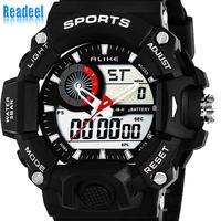 2014 New Silicone Men Wristwatch Analog Digital Sports LED Watch Mens 2 time zone Men Quartz  Watches Men's Fashion Casual Watch