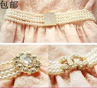 Women's cummerbund waist elastic belt rhinestone pearl belly chain female elegant hasp decoration elastic chain mere loin