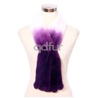 Fashion Winter Womens Nicely Genuine Knitted Rex Rabbit Fur Scarf Fur Accessory Neckerchief Wrap QD30476