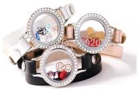 2014 Hot Sale Stainless Steel Crystal Leather Wrap Locket Bracelet 2pcs/lot LB-039