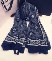 Ethnic long literary trade cotton blue and white fringed shawl scarf China retro oversized scarves women