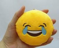 10cm*10cm Soft Emoji Smiley Emoticon Yellow Round Cushion Pillow Stuffed Plush Cushion plush Emoji Keychain