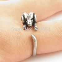 New Fashion Adjustable Vintage Silver Cute Boho Ram Sheep Animal Rings Wrap Mid Finger Ring Men Free shipping