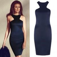 New Hot Celeb Fashion Work O-neck Vestidos Bandage Dress Racer Front Navy Blue Sexy Club Party Dresses Drop Ship Y048