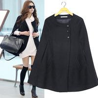New Fashion Women Wool Coats Female Woolen Outerwear Black Womens Batwing Cape Wool Poncho Jacket Winter Warm Cloak Coat
