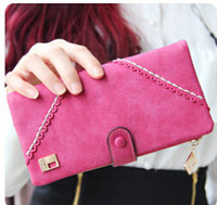 2014 New New fall and winter explosion models lace frosted Ms. Long Wallet Korean version wallet buckle noble