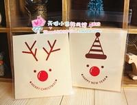100pcs/lot Christmas series Santa elk cookie plastic bags,10x11cm food bag,cupcake packaging bag free shipping