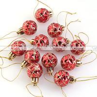 12pcs/Lot  Plastic Christmas Ornament Shiny Round Balls Hanging Xmas Tree Decorations Free shipping