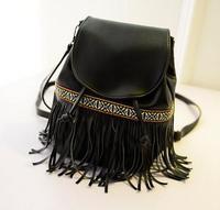 New herschel Hollow Out Tassel Backpack Vintage Drawstring Suede Leather Backpack Bag 14 inch Laptop bolsas femininas  bagpack
