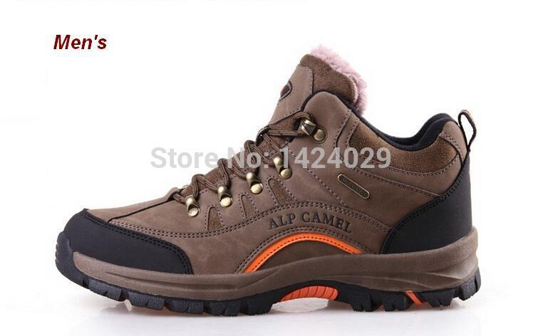 Couro NEW pele do inverno ao ar livre Ankle plano esporte botas de escalada quente atlético pé tênis para caminhada(China (Mainland))