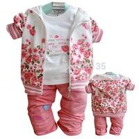2014 New Winter Autumn Warm girls clothing set children coat+t shirt+pants 3pcs in 1 suit retail kids clothing