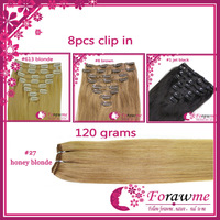 Forawme 120g/set 8pcs remy clips in extensions straight brazilian human natural hair with clips #1 jet black 18-24 inch