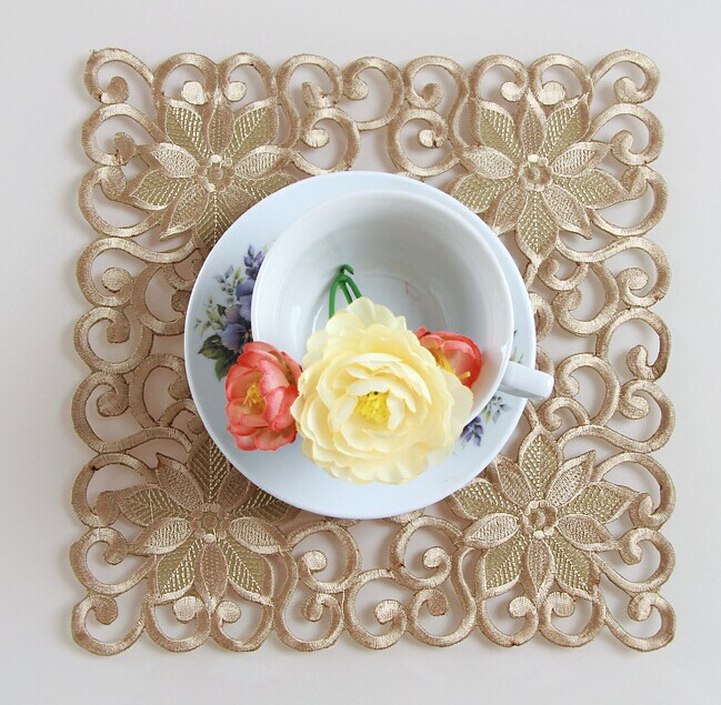 25*25CM Gold mat Embroidery Napkin Small Table Cloth Square Placemat Handmade TableCloth Table Cove Towels NO.222-GS(China (Mainland))