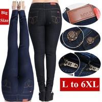 Women jeans 2015 cheap fashion plus size 6XL 5XL 4XL long fat large plants big size women jeans