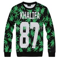 Harajuku style wiz khalifa letter & hemp plam leaf printed sweatshirt homme/femme simple hoodie taylor gang hip hop sweaters