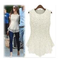 Hot sale Summer 2014 Fashion Casual Women Lined 100% Cotton Lace Sleeveless Dresses White Black Sexy Vest Blouse Plus Size D36