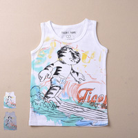 children Brand 2014 new Fashion boys clothes kids clothes Sleeveless Neck Cartoon boy's t shirt high quality