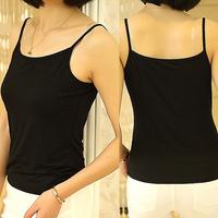 Women Camisole Leisure Fashion Inner Vest Shirt Female Basic Clothes Cotton Modal Underwear Spaghetti Strap Tank Top Black White