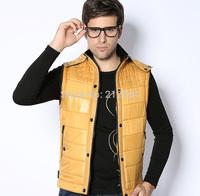 New 2014 Autumn Winter Casual Hooded Vest Men High Quality 100% Pu Down Waistcoat Comfortable Sleeveless Waterproof Jacket