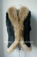 Free shipping natural rabbit fur vest raccoon dog fur trim collar women knitted fur coat fashion gilet winter outfit big size