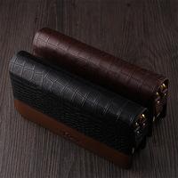 2014 designer brand men wallets genuine leather zipper  large capacit double zippers crocodile men wallets card holder wholesale
