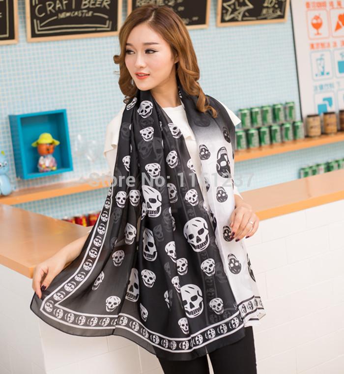 New 2014 Reine Brand MCQ* Design Fashion Women Skull Print Silk Scarf Gradient Solor Plus Size Shawl Pashmina Free Shipping(China (Mainland))