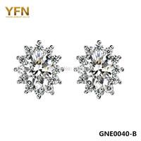 GNE0040-B Genuine 925 Sterling Silver Women Jewelry Earrings Shiny Cubic Zircon Snowflake Earrings 8X10MM Holiday Sale