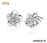 GNE0035-B Fashion Flower Earrings For Women New 925 Sterling Silver Jewelry Shiny Cubic Zircon Stud Earrings 8X8MM Holiday Sale