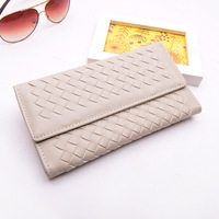 Famous brand women wallets lady long section  tri-fold wallet woven embossed clutch Lady purse card holder