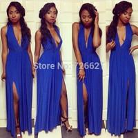 New 2015 Euramerican Split Party Blue Maxi Long Dress Fashion Sexy Women Dress Deep V-Neck Sleeveless Dress Vestidos longo