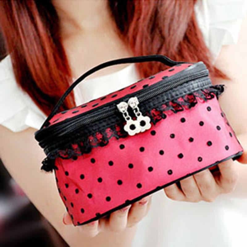 2014 New Fashion beautician Professional Cosmetic dot lace handbag large capacity portable storage wash bag make up bag FW W2(China (Mainland))