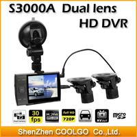 Dual Lens Novatek Chipset Car DVR S3000A 3.5 inch LED Screen HD 720P DVR Recorder Rear View Dual Front and Rear View Car Camera