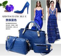 Buy 1 Get 3 Fashion Women Blue Tote Handbags Alligator Leather Handbag Designer Shoulder Messenger Bag Clutch Bags 2014 HQ Gifts