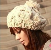 2014 New Korean Winter Warm Women Pumpkin Twist Knitted Handmade Beret Beanie Hats With  Big Ball