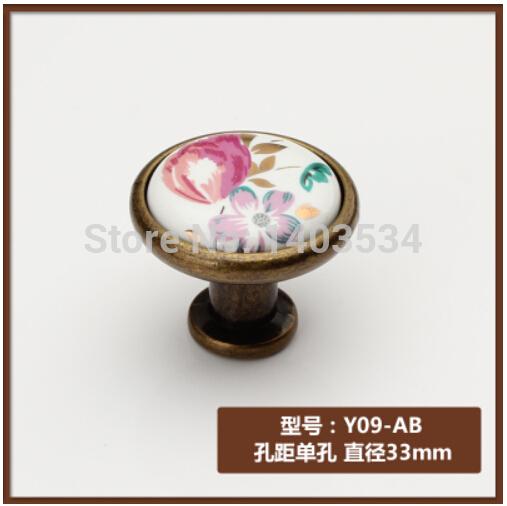 10cs cerâmica zinco liga bronze antigo botão botão do armário gaveta pu
