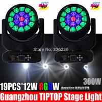 2pcs/lot Amazing HAWKEYE 19pcs*12W 4IN1 Led Moving Head Light RGBW DMX512 Hi-Quality Led Moving Head Beam Light Led Stafe Effect
