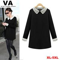 big plus size 5xl 4xl xxxl woman clothes, 2014 fall winter autumn casual women dresses, black lace Long Tshirt dress