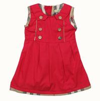 Retail New 2015 summer brand baby girls dress vest 100% cotton baby plaid dresses kids tutu party clothing fashion cheap